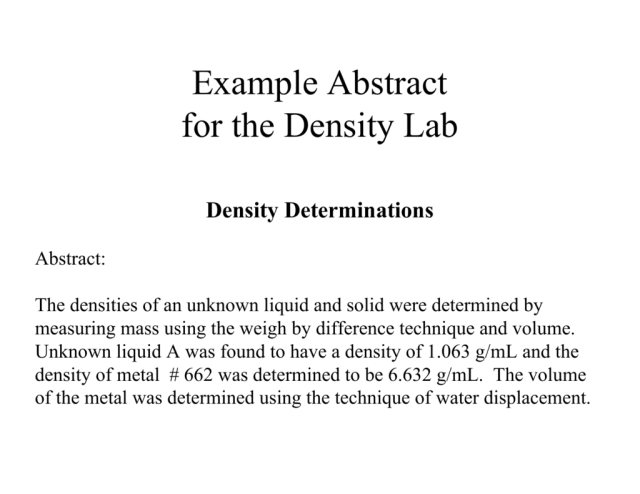 Example Abstract for the Density Lab
