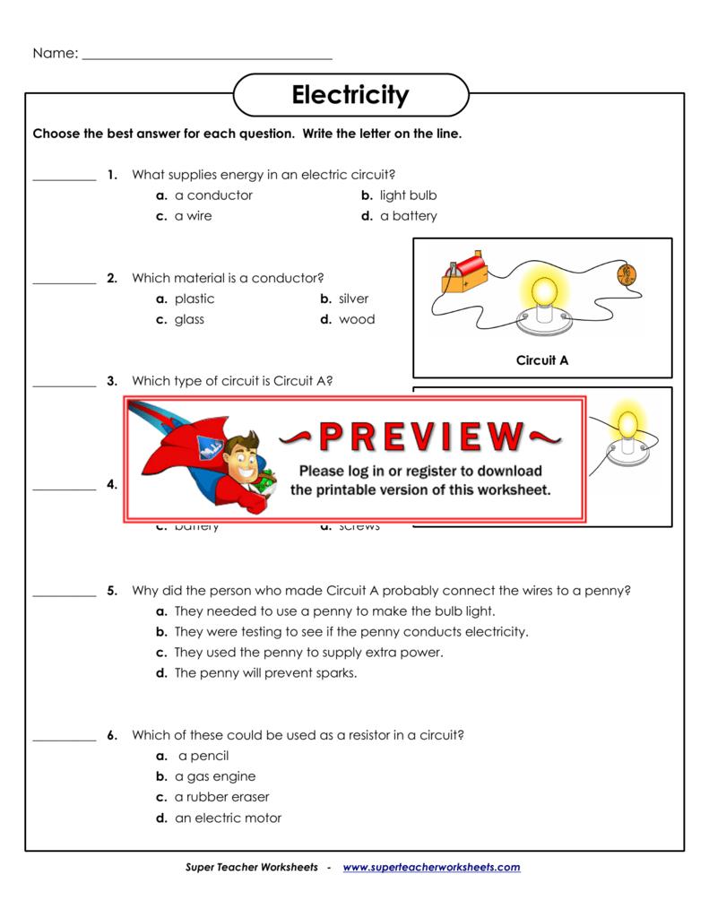 hight resolution of Electricity - Super Teacher Worksheets
