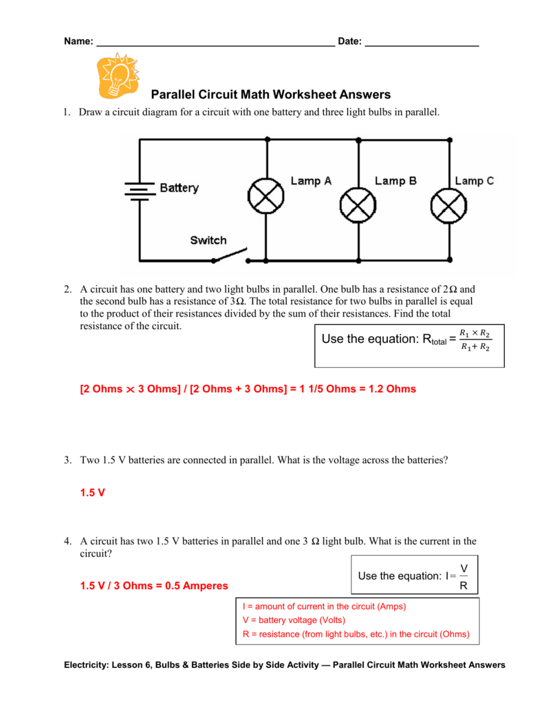 Circuits Worksheet Answers : circuits, worksheet, answers, Parallel, Circuit, Worksheet, Answers