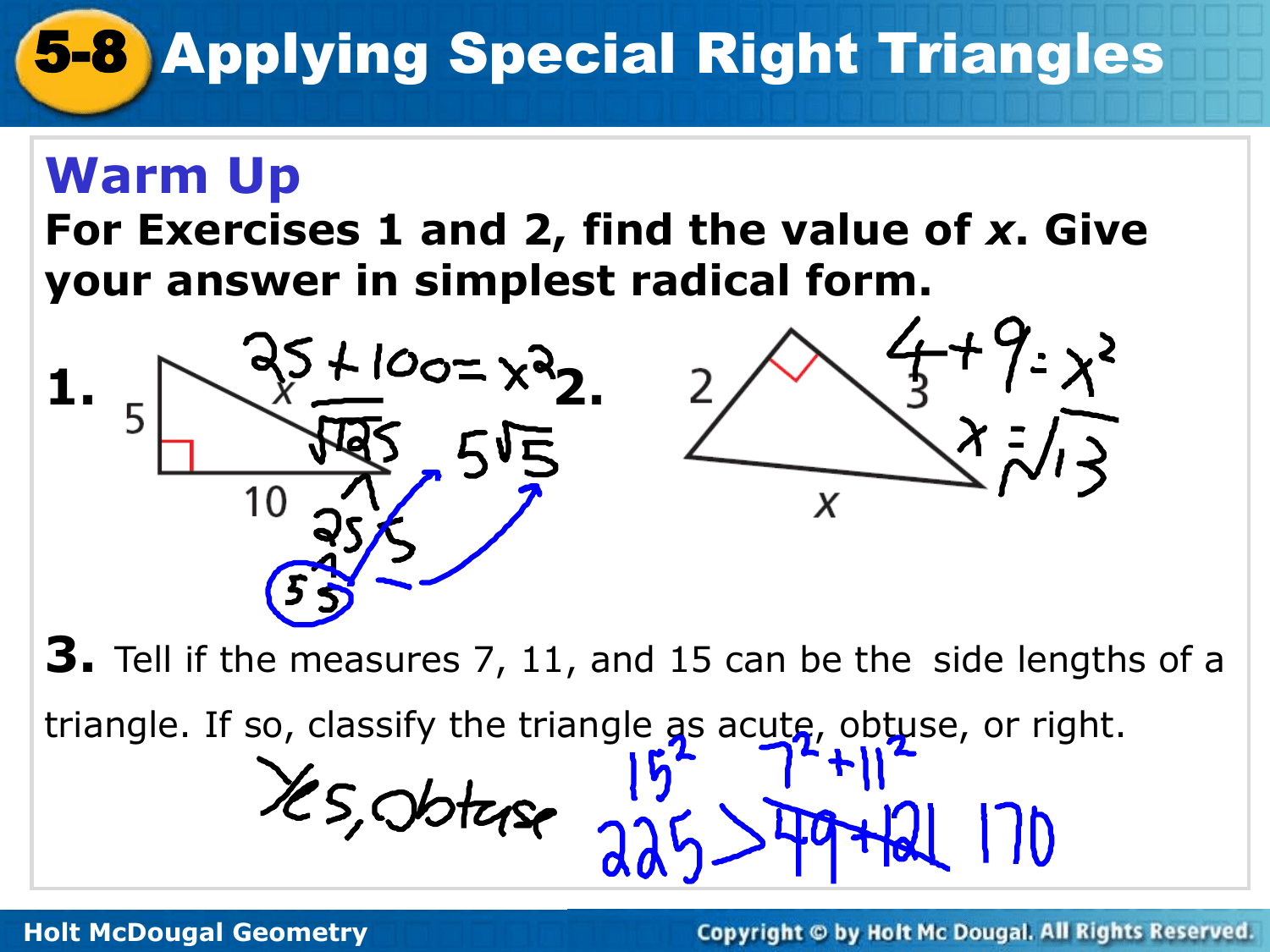 5 8 Applying Special Right Triangles