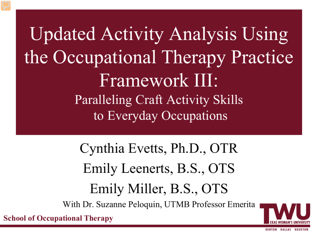 Updated Activityysis Using The Occupational Therapy Practice