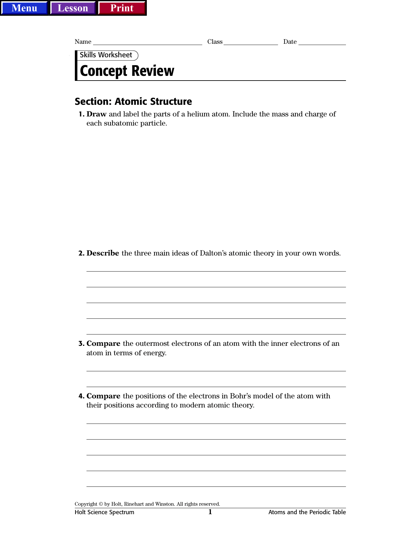 Skills Worksheet Concept Review Section Balancing Chemical
