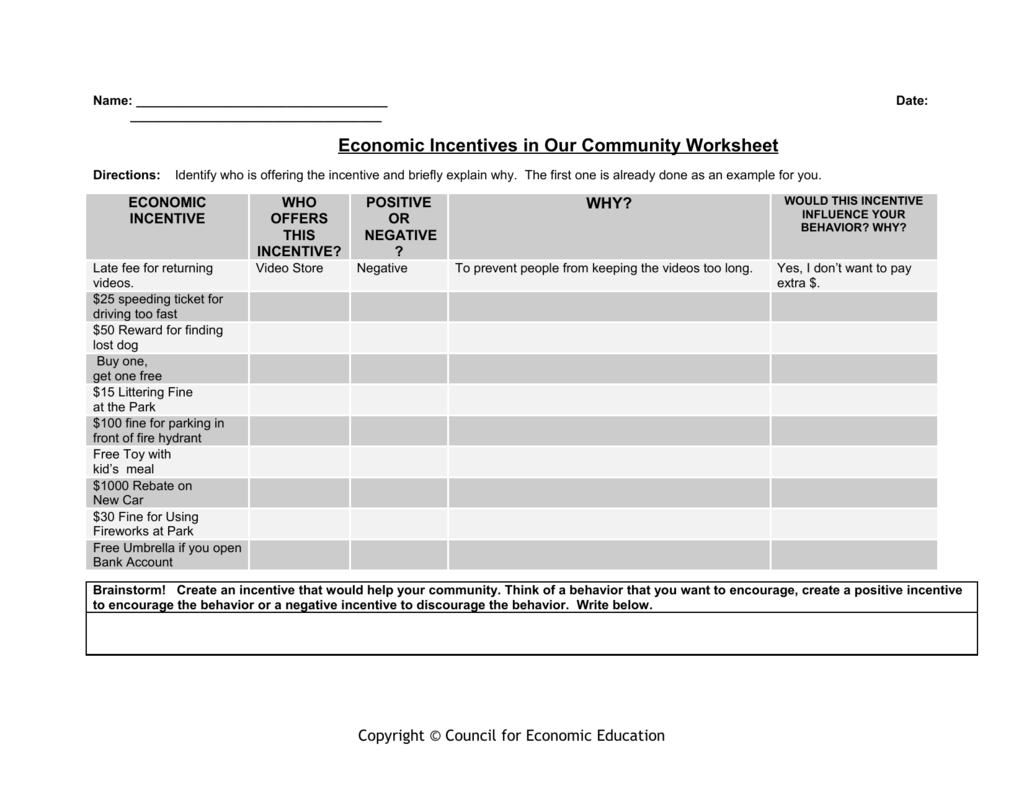 Economic Incentives In Our Community Worksheet