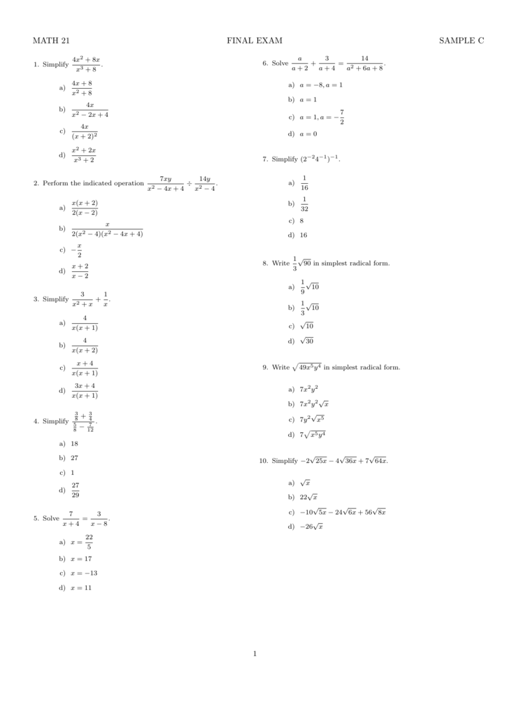 MATH 21 FINAL EXAM SAMPLE C
