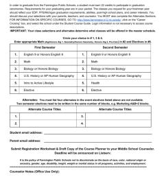FPS Incoming 9th Grade Course Registration Worksheet [ 1024 x 791 Pixel ]