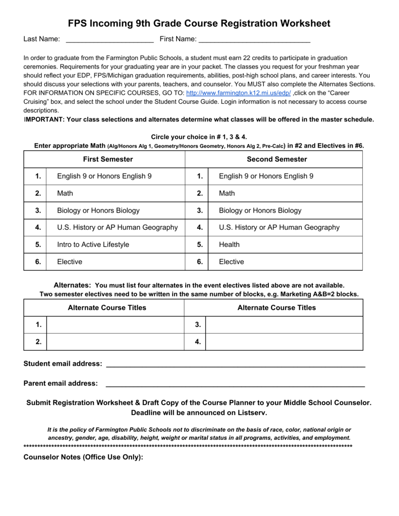 hight resolution of FPS Incoming 9th Grade Course Registration Worksheet