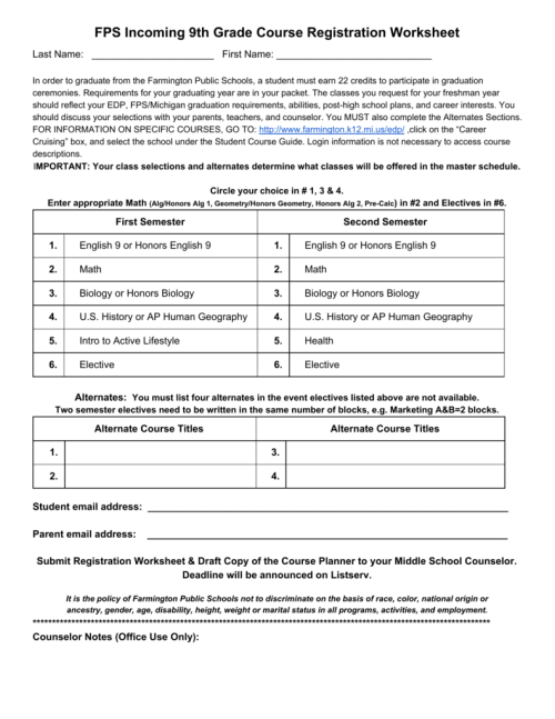 small resolution of FPS Incoming 9th Grade Course Registration Worksheet