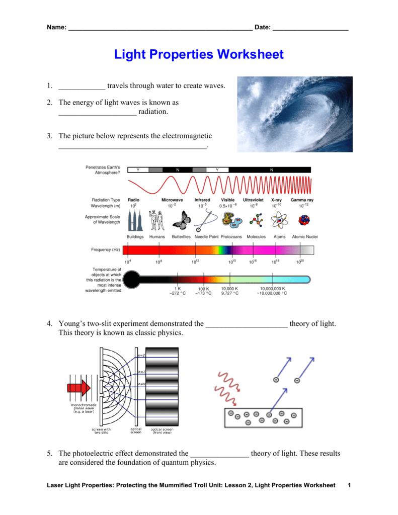 hight resolution of Light Properties Worksheet