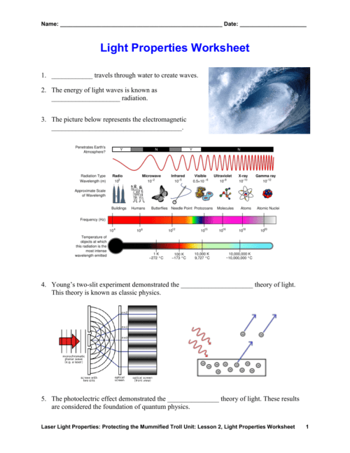 small resolution of Light Properties Worksheet
