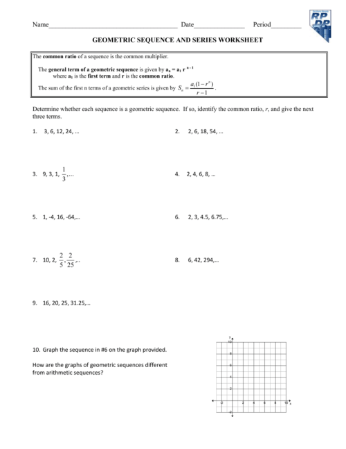 small resolution of Geometric Sequence And Series Worksheet - Worksheet List