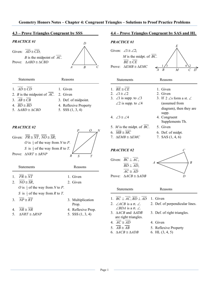 Triangle Proofs Worksheet Answers : triangle, proofs, worksheet, answers, Geometry, Honors, Chapter, Solutions, Proof, Practice