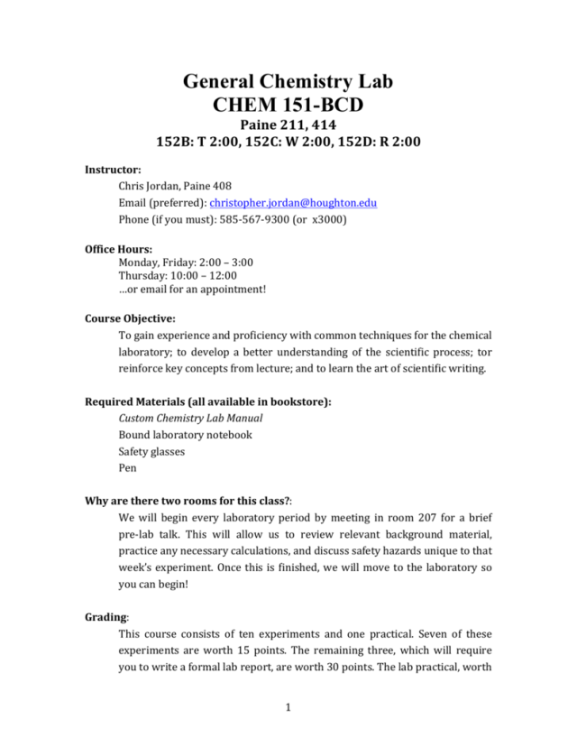 General Chemistry Lab CHEM 28-BCD