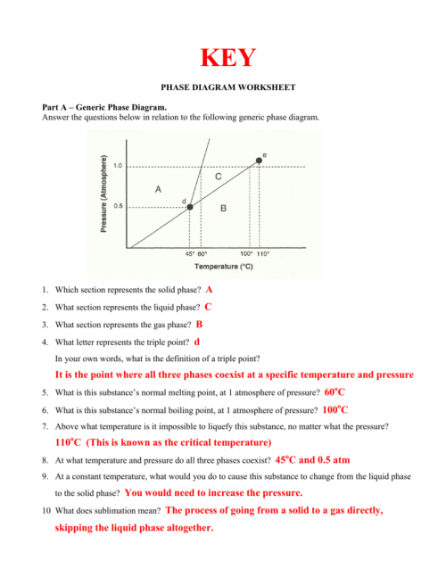 small resolution of key phase diagram worksheet part a generic phase diagram answer the questions below in relation to the following generic phase diagram 1