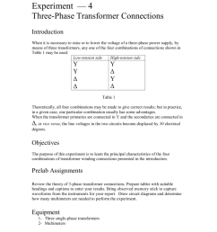 experiment 4 three phase transformer connections introduction when it is necessary to raise or to lower the voltage of a three phase power supply  [ 791 x 1024 Pixel ]