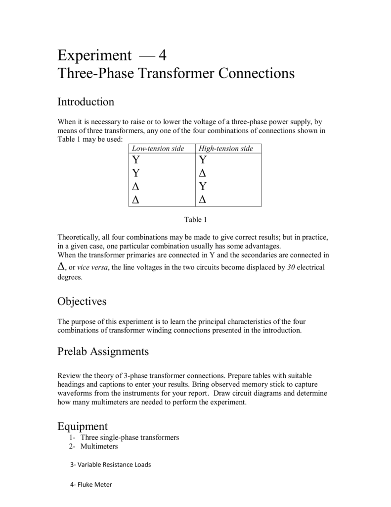 medium resolution of experiment 4 three phase transformer connections introduction when it is necessary to raise or to lower the voltage of a three phase power supply