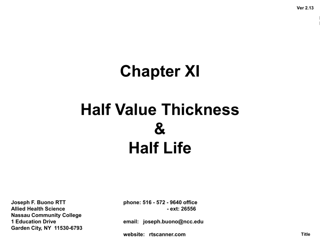 Chapter XI Half Value Layer