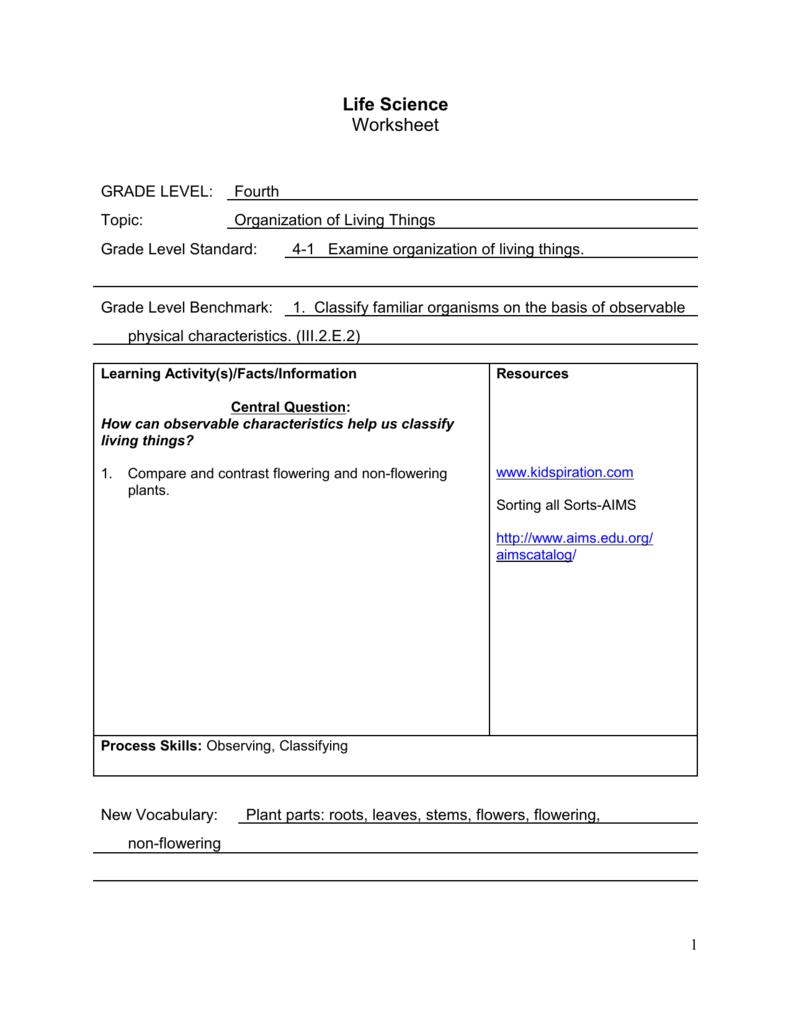 medium resolution of Life Science Worksheet