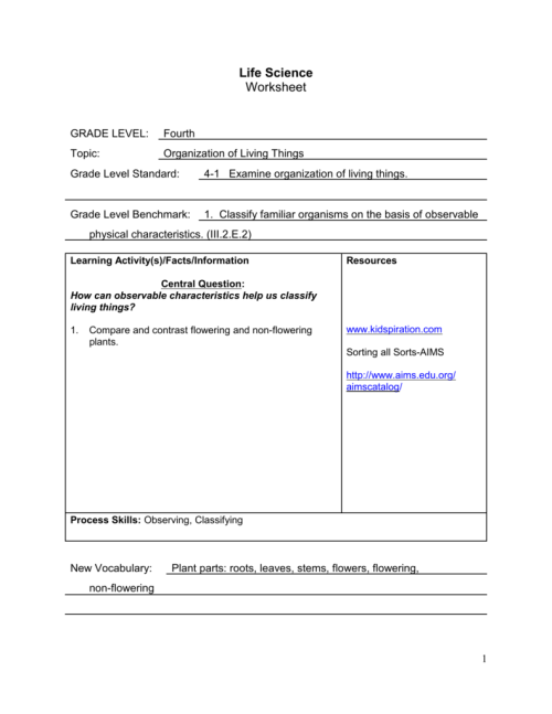 small resolution of Life Science Worksheet