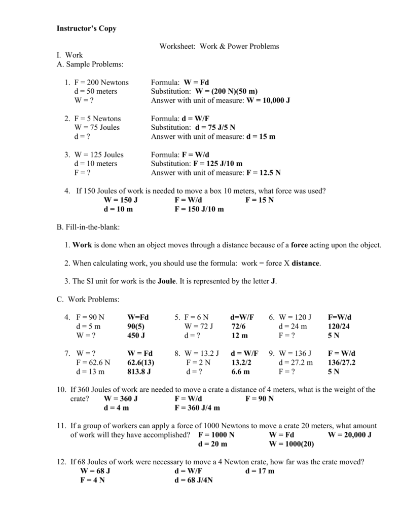 Worksheet Work And Power Problems : worksheet, power, problems, Instructor's