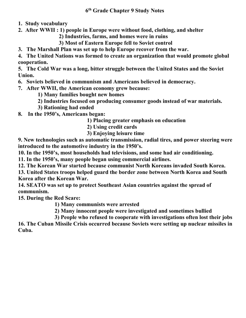 hight resolution of 6th Grade Chapter 9 Study Notes