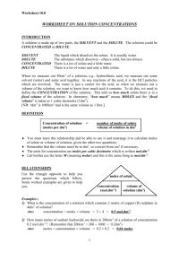 Solution Concentration Worksheet - Facialreviveserum.com