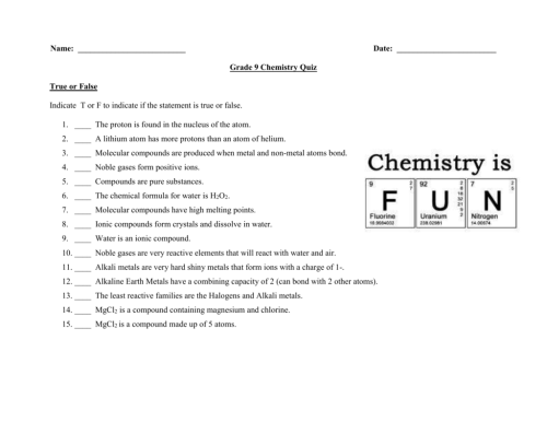 small resolution of Chemistry Worksheets For Grade 9   Printable Worksheets and Activities for  Teachers