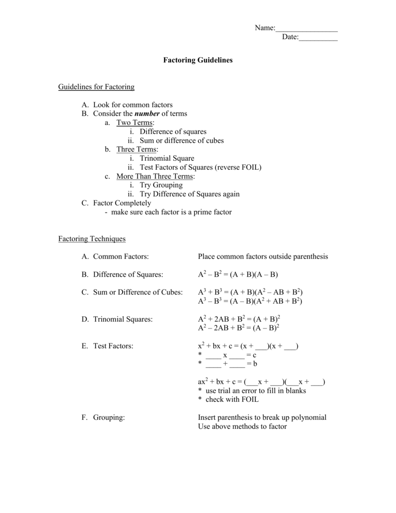 Algebra 1 Factoring Worksheet Factoring Difference Of