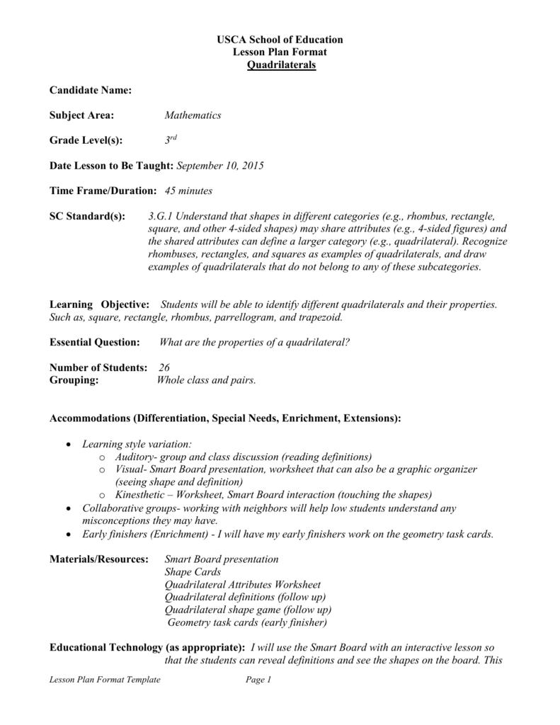 medium resolution of Quadrilateral Lesson