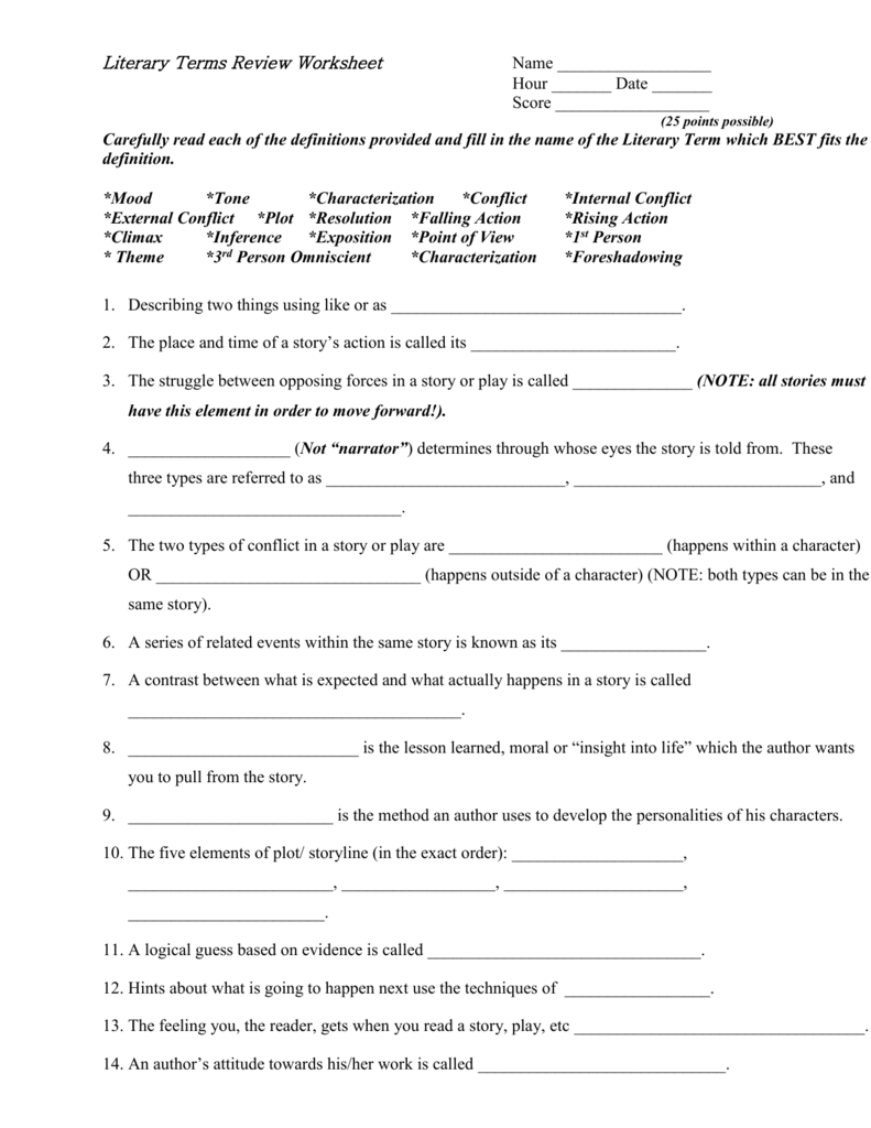 medium resolution of Literary Terms Worksheet Answers - Promotiontablecovers