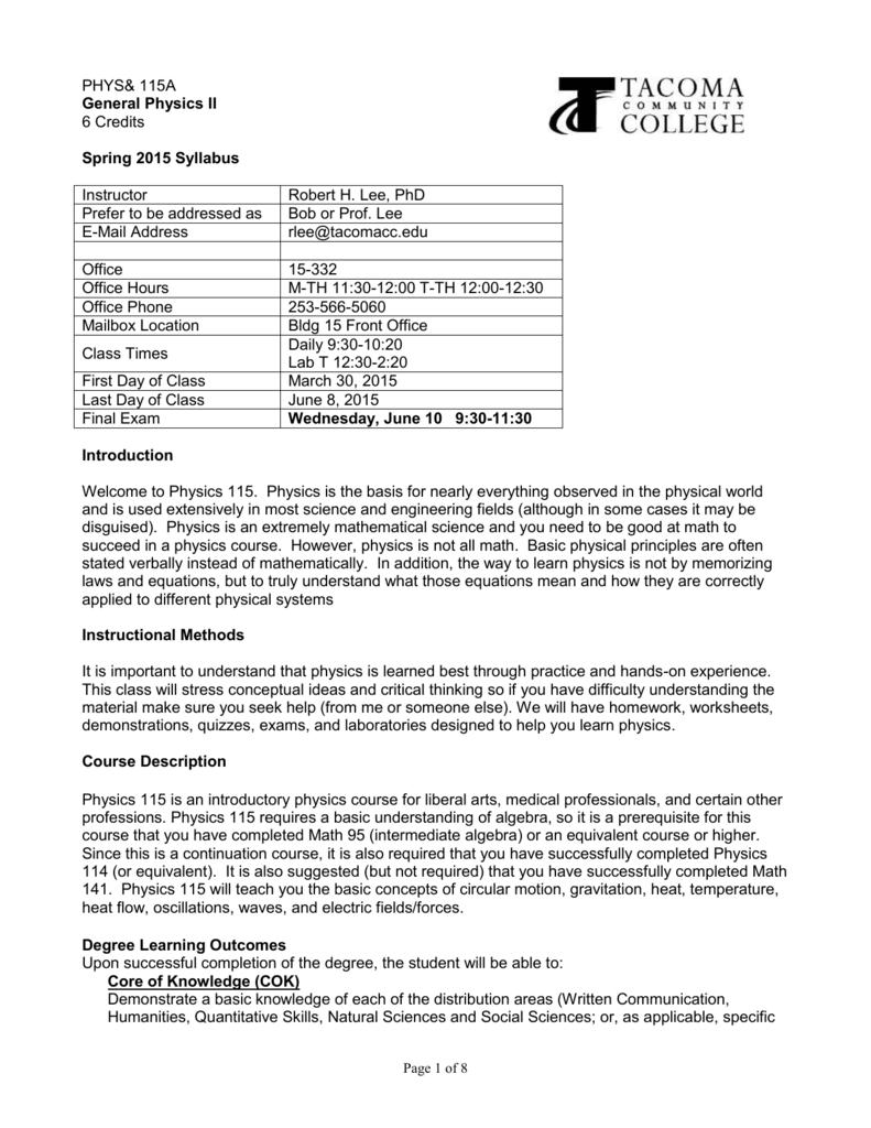 hight resolution of Syllabus: Physics 114 - Tacoma Community College