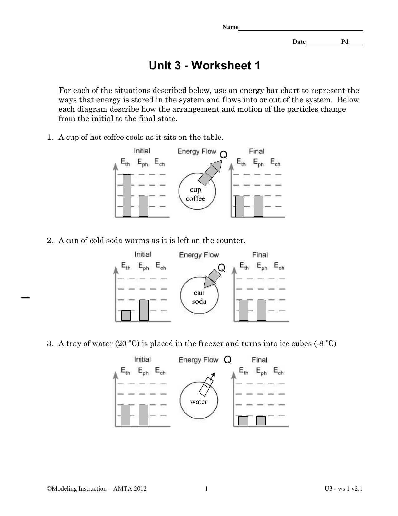 Energy Storage And Transfer Model Worksheet 4