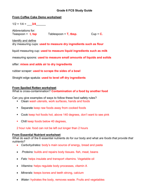 small resolution of Foods Quiz Study Guide Key