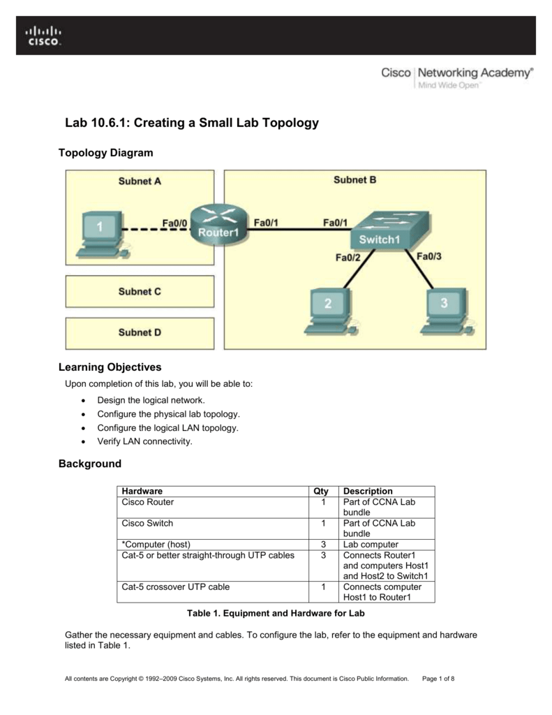 medium resolution of  lab 10 6 1 creating a small lab topology lab 10 6 1 creating a small lab topology topology diagram learning objectives upon completion of this lab