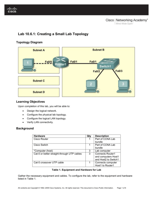 small resolution of  lab 10 6 1 creating a small lab topology lab 10 6 1 creating a small lab topology topology diagram learning objectives upon completion of this lab