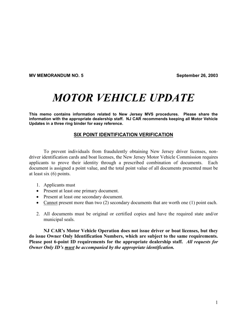 New Jersey Department Of Motor Vehicles 6 Points Identification