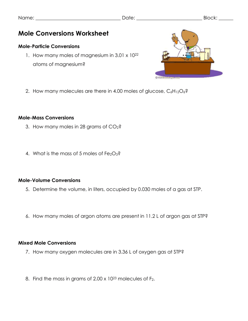 Mole Conversion Worksheet How Many Moles Of Magnesium