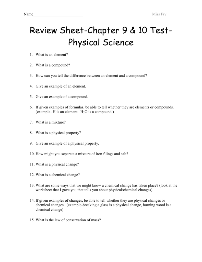 hight resolution of Review Sheet-Chapter 9 Test