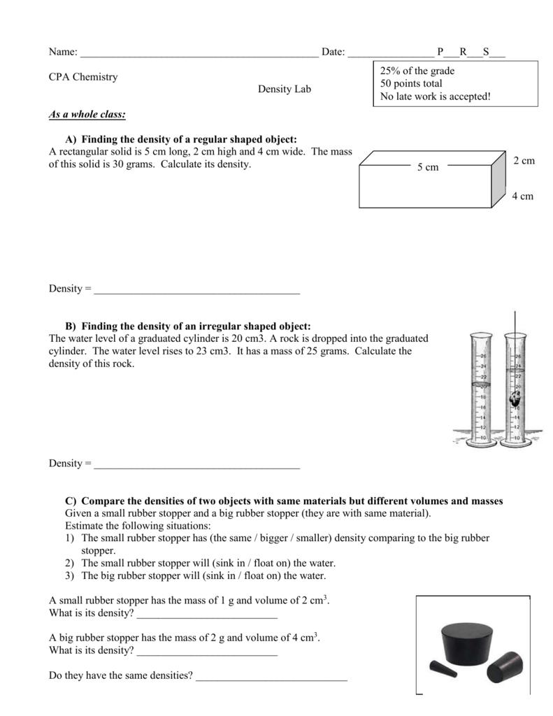 medium resolution of Density Worksheet