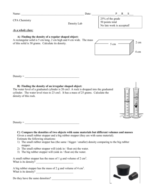small resolution of Density Worksheet