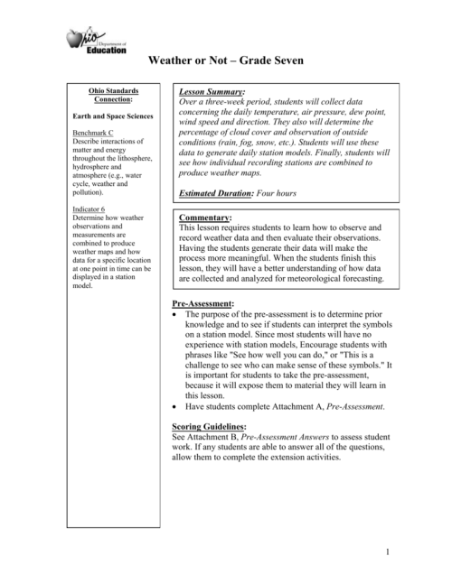 small resolution of Weather Worksheet - ODE IMS - Ohio Department of Education