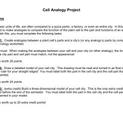 Cell Analogy Worksheet [ 1275 x 1651 Pixel ]