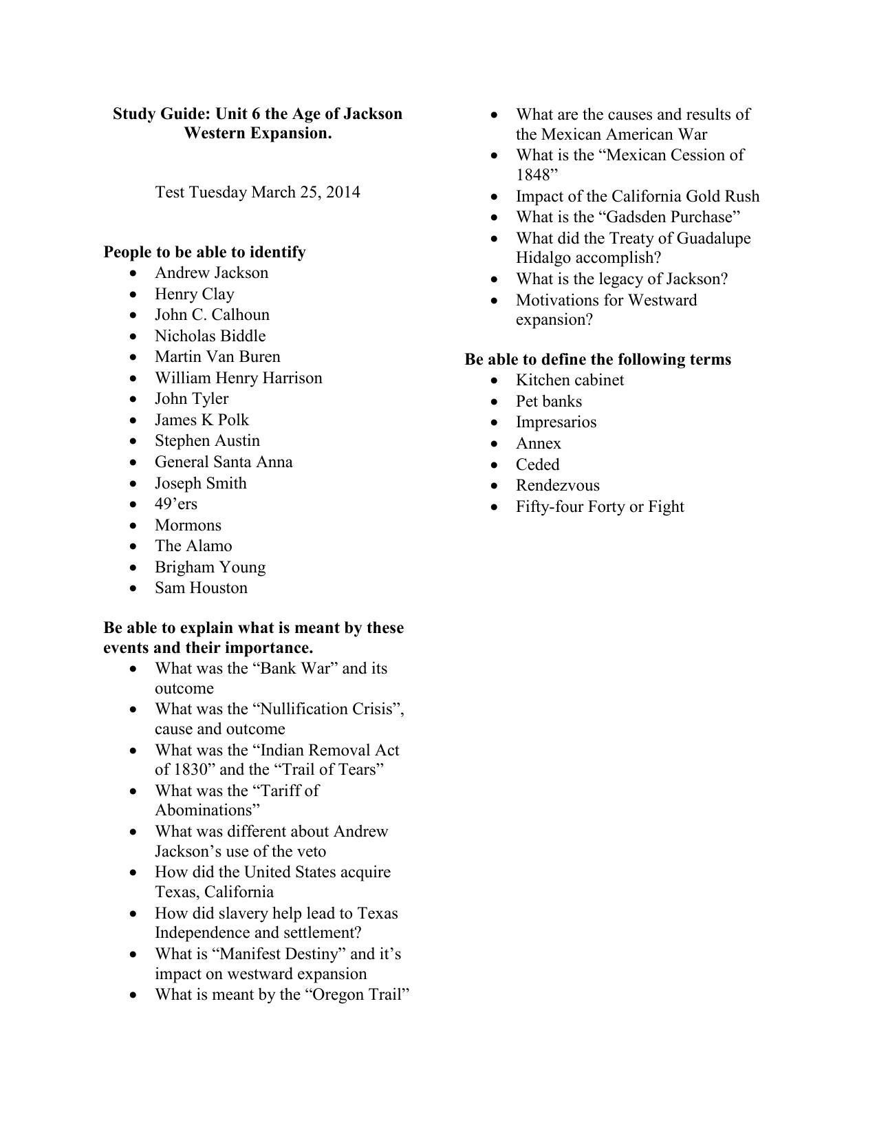 Study Guide Unit 6 The Age Of Jackson And Western Expansion
