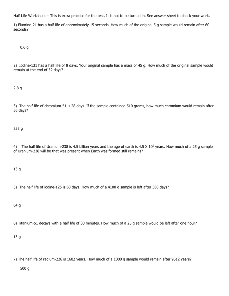 Half Life Practice Problems Worksheet With Answers Resume Match And Answers