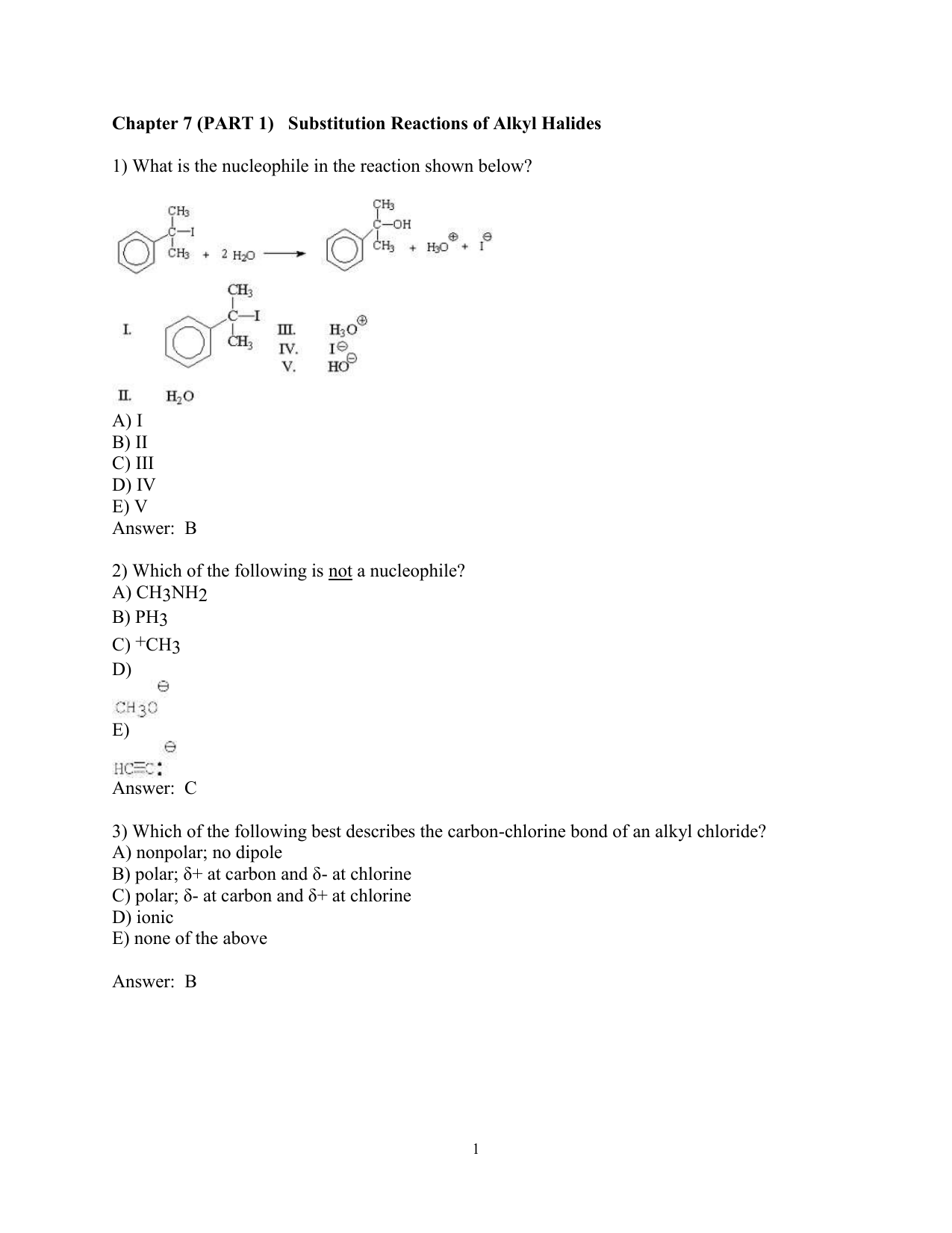 Ch07 Worksheet Part 1 Substitution Reactions Answer Key