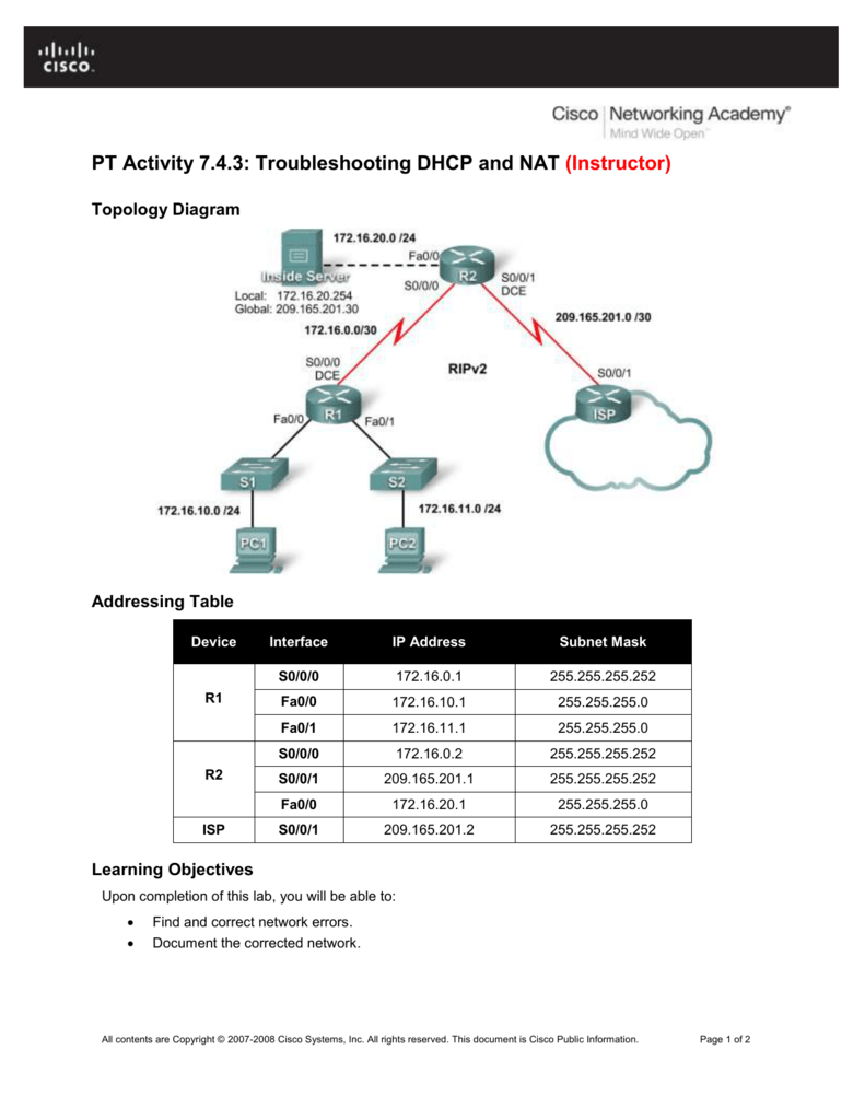 PT Activity 7.4.3: Troubleshooting DHCP and NAT (Instructor)