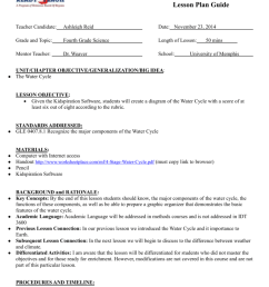 lesson plan guide teacher candidate ashleigh reid date november 23 2014 grade and topic fourth grade science length of lesson mentor teacher dr  [ 791 x 1024 Pixel ]
