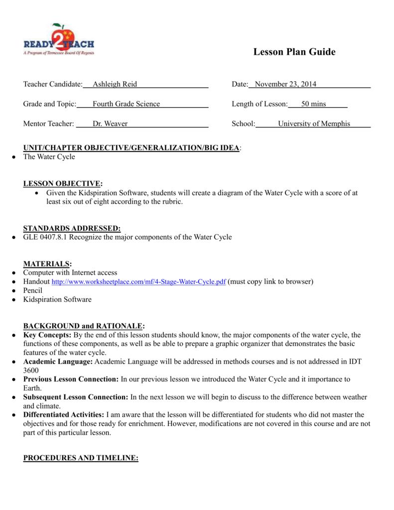 medium resolution of lesson plan guide teacher candidate ashleigh reid date november 23 2014 grade and topic fourth grade science length of lesson mentor teacher dr