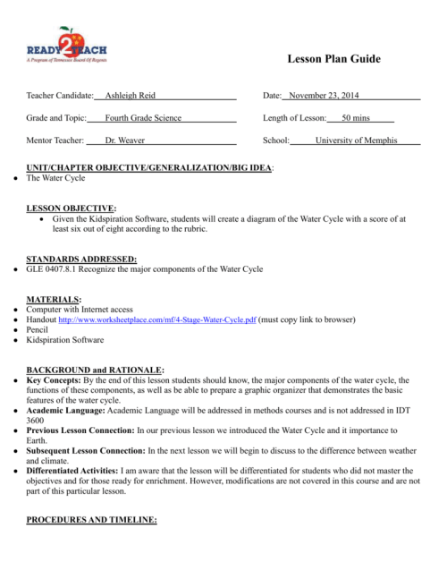 small resolution of lesson plan guide teacher candidate ashleigh reid date november 23 2014 grade and topic fourth grade science length of lesson mentor teacher dr