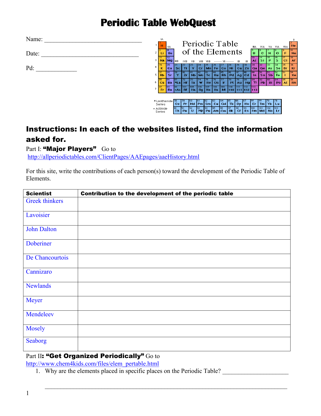 Periodic Table Webquest Answer Key Part 3
