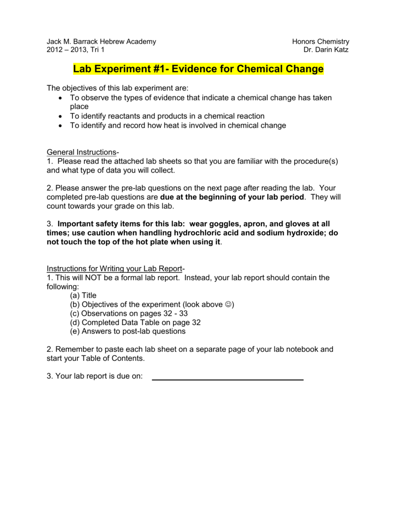 hight resolution of Lab Experiment #1- Evidence for Chemical Change